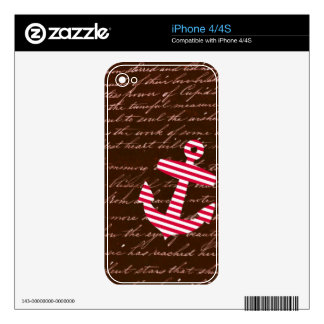 Nautical Stripe red anchor Decals For The iPhone 4S