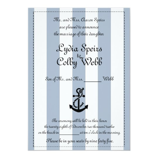 Nautical Stripe Wedding Announcement