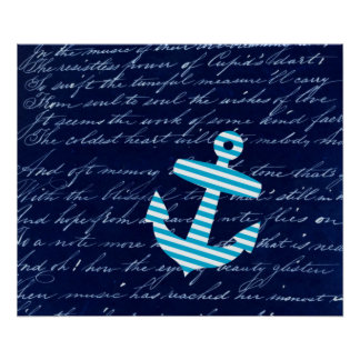 Nautical Striped blue anchor art poster