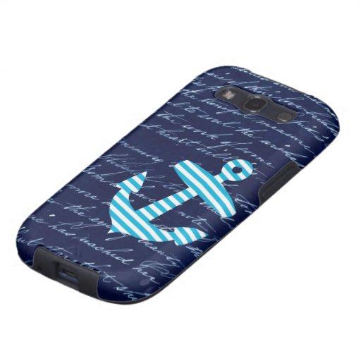 Nautical Striped blue anchor handwriting design Galaxy SIII Covers