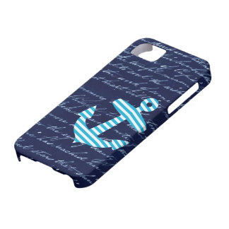 Nautical Striped blue anchor iphone 5 case