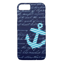 Nautical Striped blue anchor iPhone 7 case