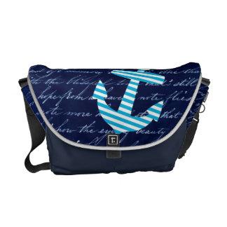 Nautical Striped blue anchor navy bag