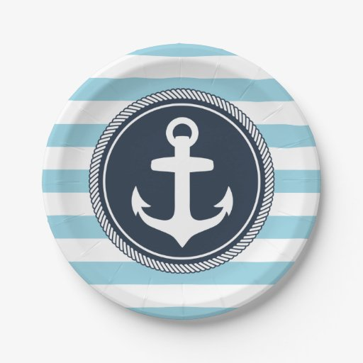 nautical striped navy and light blue paper plate zazzle. Black Bedroom Furniture Sets. Home Design Ideas