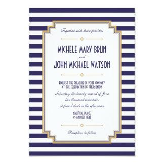 Nautical Striped Navy Blue White Wedding Invite