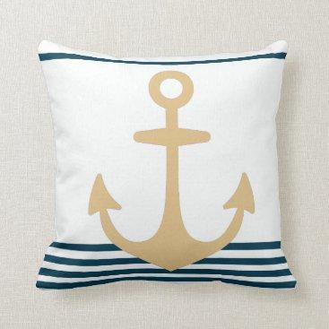 Beach Themed nautical striped ocean beach themed pillow