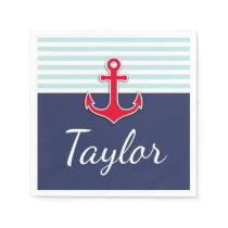 Nautical Striped Pattern Red Anchor Custom Text Paper Napkin