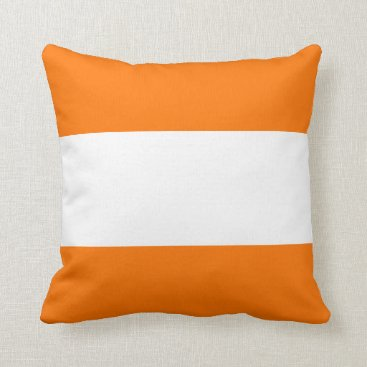 Beach Themed Nautical striped pillow in Daylily Orange