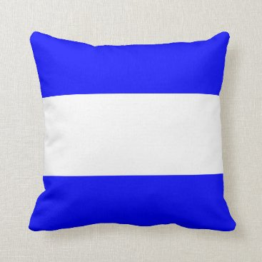 Beach Themed Nautical striped reversible pillow in Blue Bird