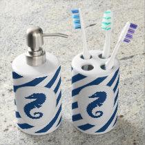 Nautical Striped Seahorse Toothbrush Soap Set