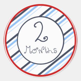 Nautical Stripes 2 Months Sticker