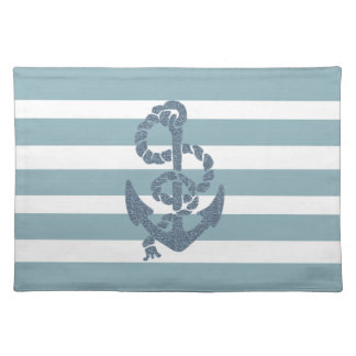 Nautical Stripes Anchor Cloth Placemat