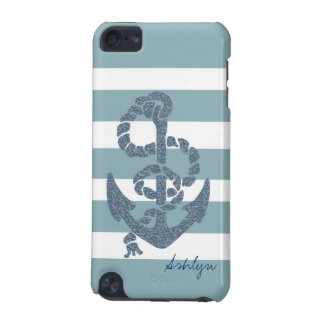 Nautical Stripes Anchor iPod Touch (5th Generation) Cover