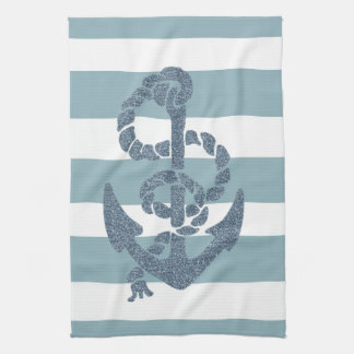 Nautical Stripes Anchor Kitchen Towel