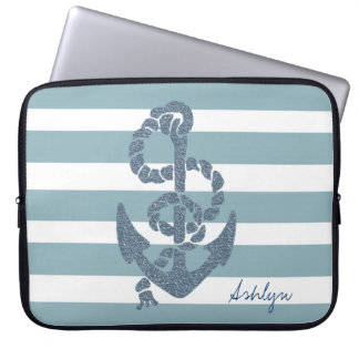 Nautical Stripes Anchor Laptop Sleeve