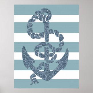 Nautical Stripes Anchor Poster