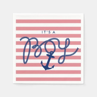 Nautical Stripes Anchor & Rope Boy Baby Shower Standard Cocktail Napkin