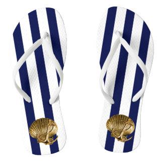 Nautical Stripes Anchor Seashell | gold white navy Flip Flops