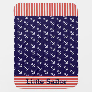 Nautical Stripes Anchors Baby Blanket