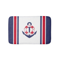 Nautical Stripes and Anchor Bathroom Mat