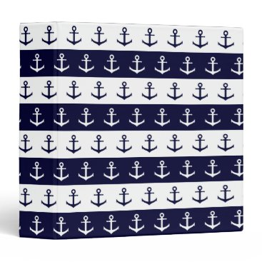 Beach Themed Nautical stripes and anchor pattern binder
