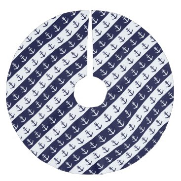 Beach Themed Nautical stripes and anchor pattern brushed polyester tree skirt