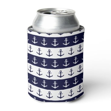 Beach Themed Nautical stripes and anchor pattern can cooler