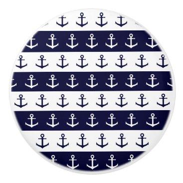 Beach Themed Nautical stripes and anchor pattern ceramic knob
