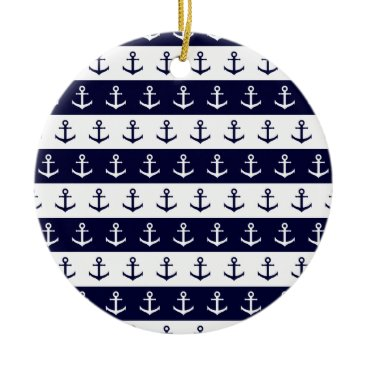 Beach Themed Nautical stripes and anchor pattern ceramic ornament