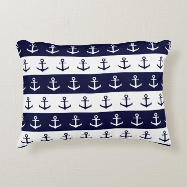 Beach Themed Nautical stripes and anchor pattern decorative pillow