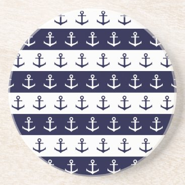 Beach Themed Nautical stripes and anchor pattern drink coaster