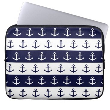 Beach Themed Nautical stripes and anchor pattern laptop sleeve
