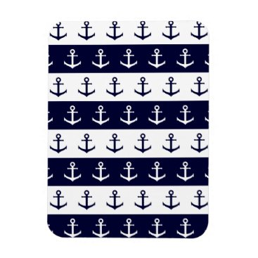 Beach Themed Nautical stripes and anchor pattern magnet