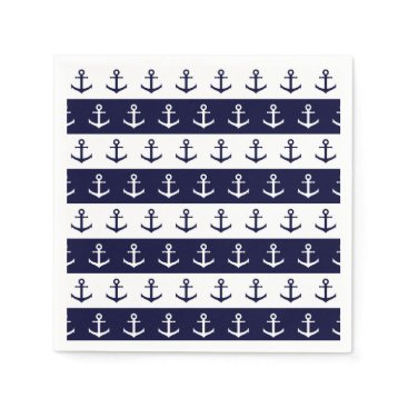 Beach Themed Nautical stripes and anchor pattern napkin