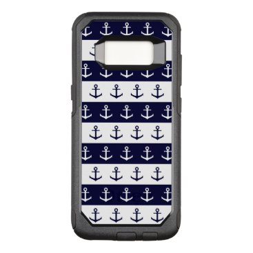 Beach Themed Nautical stripes and anchor pattern OtterBox commuter samsung galaxy s8 case