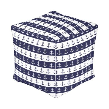 Beach Themed Nautical stripes and anchor pattern outdoor pouf