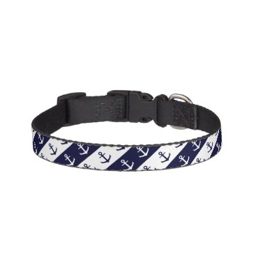 Beach Themed Nautical stripes and anchor pattern pet collar