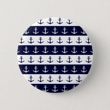 Beach Themed Nautical stripes and anchor pattern pinback button