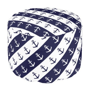 Beach Themed Nautical stripes and anchor pattern pouf