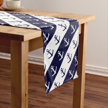 Beach Themed Nautical stripes and anchor pattern short table runner