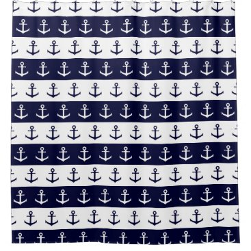 Beach Themed Nautical stripes and anchor pattern shower curtain