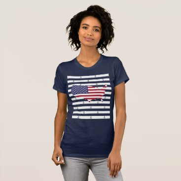 USA Themed Nautical stripes and anchor pattern T-Shirt