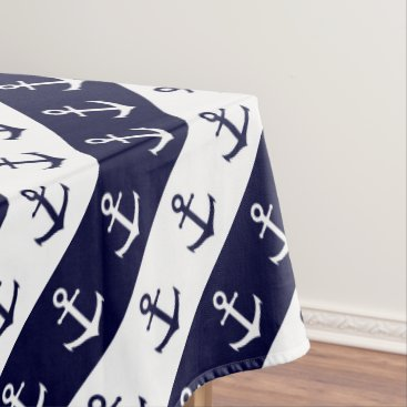Beach Themed Nautical stripes and anchor pattern tablecloth