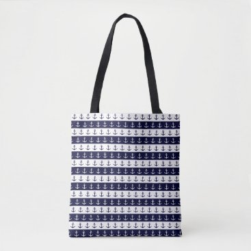 Beach Themed Nautical stripes and anchor pattern tote bag