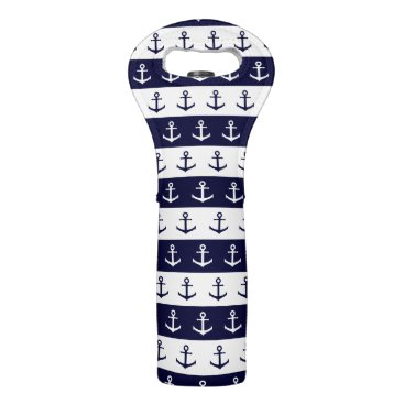 Beach Themed Nautical stripes and anchor pattern wine bag