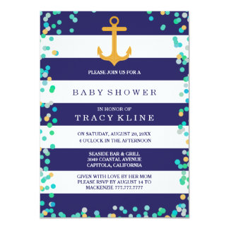 Nautical Stripes and Dots Baby Shower or Sprinkle 4.5x6.25 Paper Invitation Card