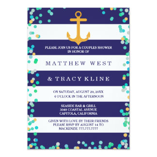 nautical stripes and dots couples wedding shower card