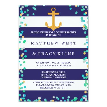 Beach Themed Nautical Stripes and Dots Couples Wedding Shower Card
