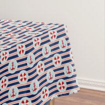 Nautical Stripes And Dots Pattern Tablecloth