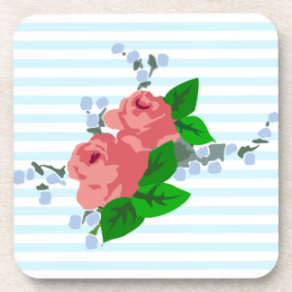 Nautical Stripes and Roses Drink Coaster